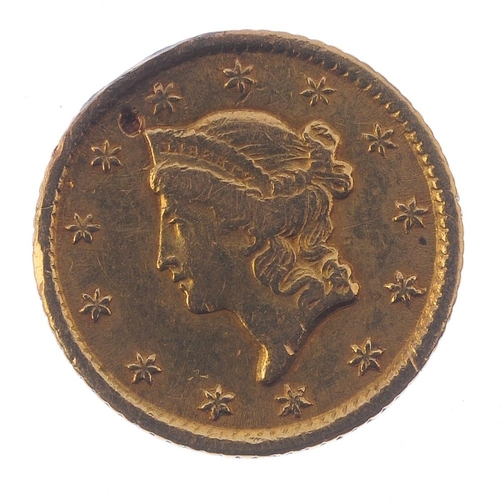 163 - USA, gold 1-Dollar 1851O, Liberty head. About very fine, ding to field above Liberty.  <br>About ver...