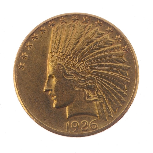 164 - USA, gold 10-Dollars Eagle 1926, Indian head. Good very fine.  <br>Good very fine.  <br>...