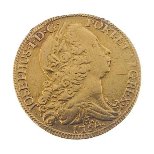166 - Portugal, Joao I, gold 4-Escudos 1754, wt.13.7g. Fine, ex solder mount.  <br>Fine, ex solder mount. ...
