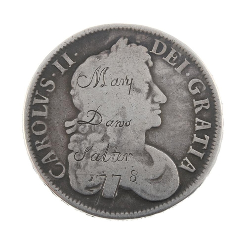 170 - Charles II, Crown 1677, further engraved 'Mary Daws Salter 1778'. Fair. <br>Fair. <br>...