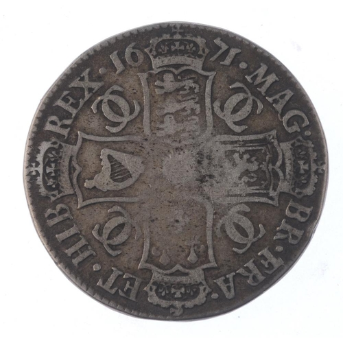 171 - Charles II, Halfcrown 1671 (S 3366). Almost fine but edge lettering erased.  <br>Almost fine but edg...