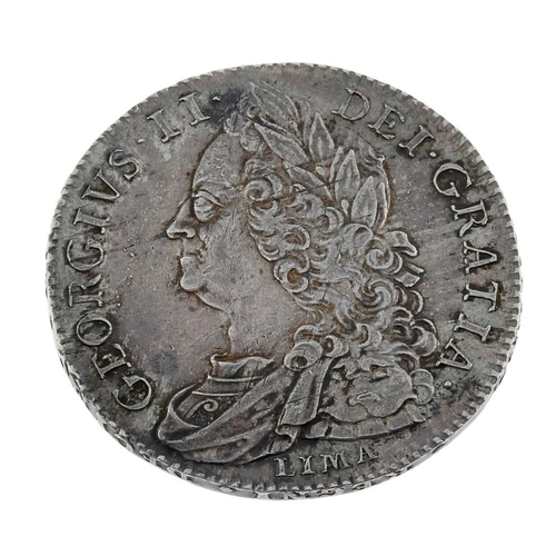 175 - George II, Halfcrown 1746 Decimo Nono, LIMA below bust (S 3695A). Good very fine.  <br>Good very fin...