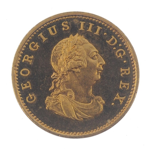 179 - Ireland, George III, gilt copper proof Farthing 1806 (S 6622), with original shell casings (one bent...