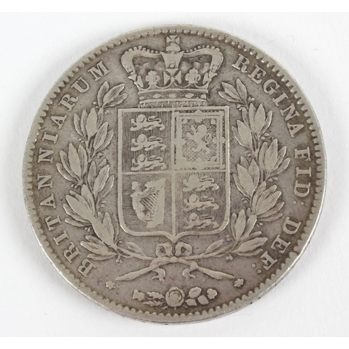 186 - Victoria, Crown 1844, young head, rev. shield, cinquefoil stops (S 3882). Good fine.  <br>...