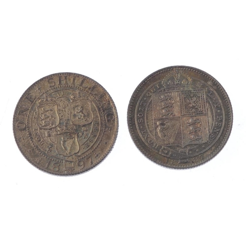 190 - Victoria, Crowns (2) 1897, 1898, fine and very fine, Shillings (2) 1887, 1897, extremely fine or nea...