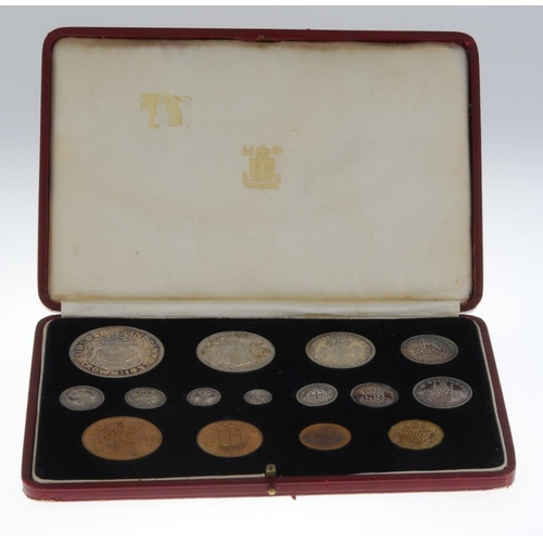 192 - George VI, Coronation 1937, Specimen set, silver Crown to Maundy Penny, base Threepence to Farthing,...