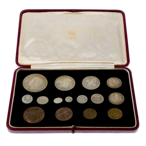 193 - George VI, Coronation 1937, Specimen Set, silver Crown to Threepence, Maundy Fourpence to Penny, bas...