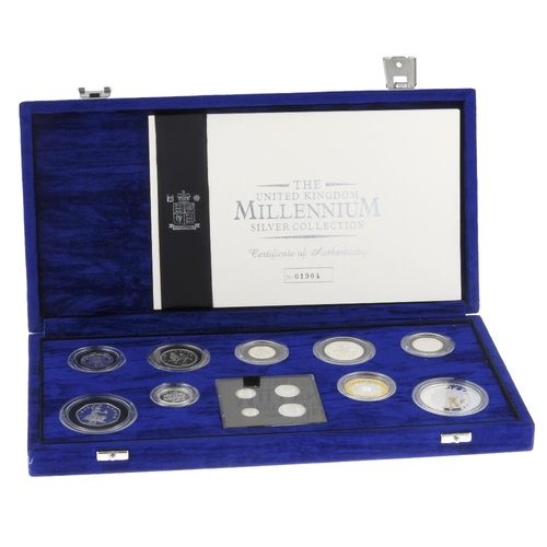 194 - Elizabeth II, Millennium Proof Silver Set 2000, comprising silver Five-Pounds to Penny, Maundy Fourp...