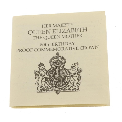 196 - Queen Elizabeth the Queen Mother, 80th Birthday 1980, silver proof Crownsize issues (7), in Royal Mi...