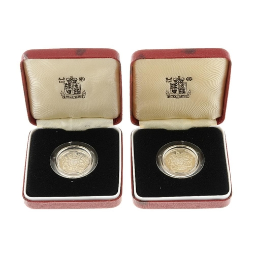 197 - Elizabeth II, Silver Proof One Pound 1983 (3) 1984, Fifty-Pence 1973 (4),  Proof Silver Piedfort Twe...