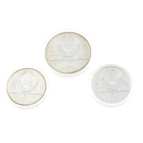 204 - Moscow, XXII Olympiad Moscow 1980, 10 Rouble (2), 5 Rouble (4), in fitted case. (6). Very fine, some...