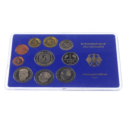 205 - Germany, West Germany, proof currency sets, 5-Mark to 1-Pfennig, 1980  D (2), F (2), G (2), J (2), 1...