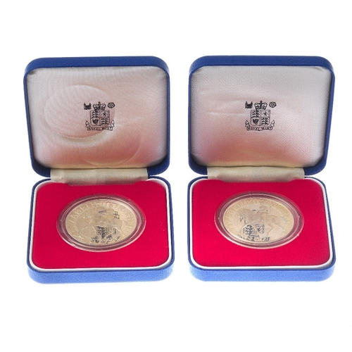 212 - Elizabeth II, silver proof Jubilee Crowns 1977 (2), cased, other Crownsized sterling silver proof co...