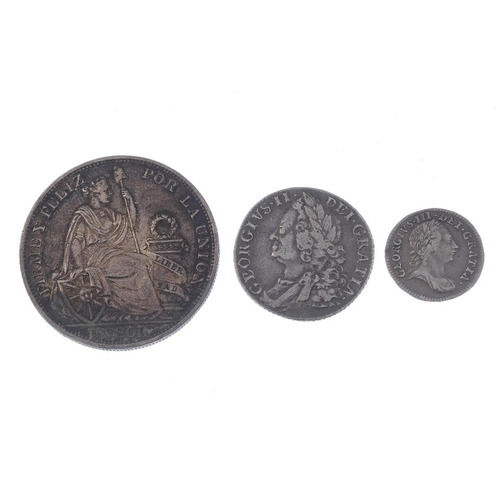 214 - Victoria and Edward VII, sterling silver coins (13), Shilling 1758, Threepence1762, Peru, 1-Sol 1894...