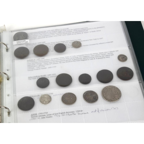 221 - George I to William IV, silver and base coins contained in an album interleaved with interesting his...