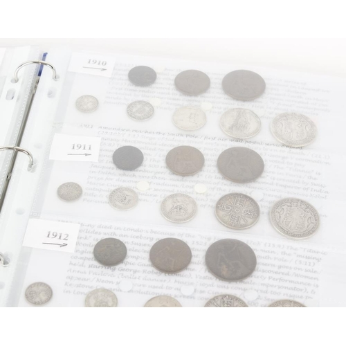 223 - Edward VII to Elizabeth II, silver and base coins contained in two albums interleaved with interesti...