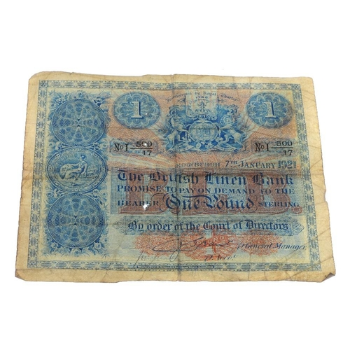 224 - Scotland, banknotes (3), The British Linen Bank, £1, 7th January 1921, CJ Grant, No I 500/17, two sm...