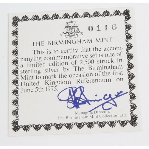 230 - The First United Kingdom Referendum, June 5th 1975, a commemorative issue of medals and ingots struc...