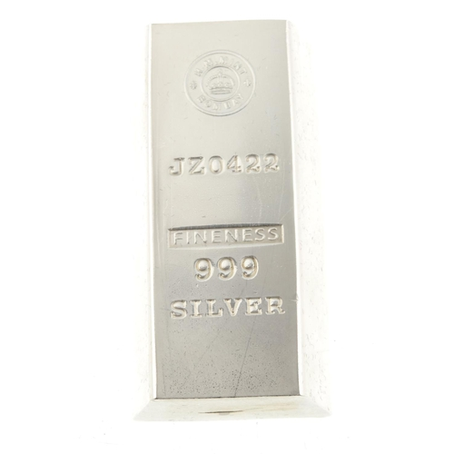 234 - A fine silver ingot made from silver recovered from the wreck of the SS Gairsoppa, 10oz, with later ...