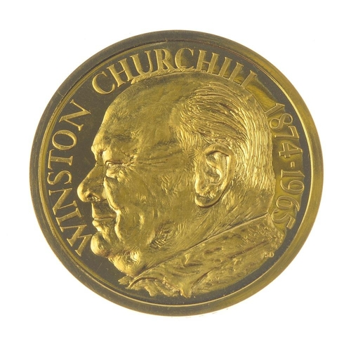 236 - Sir Winston Churchill, death 1965, large gold medal signed SD, bust left, rev. parliamentary portcul...