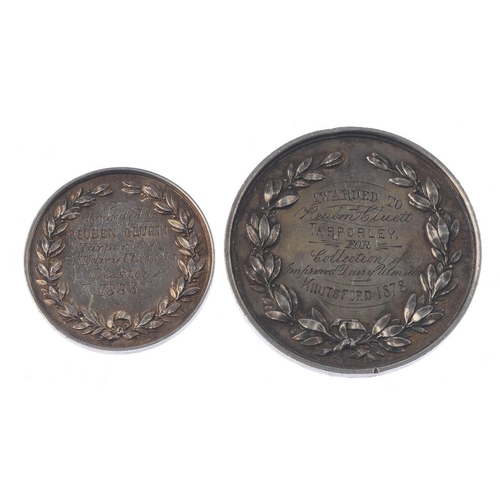 237 - Agricultural silver medals (5), Cheshire Agricultural Society, shield of arms above crossed wheat, C...