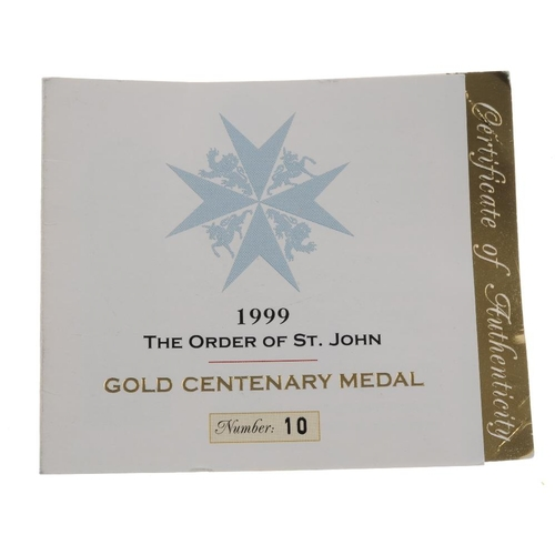241 - The Order of St. John, 9ct Gold Centenary Medal, featuring the sixteenth century armorial bearings o...