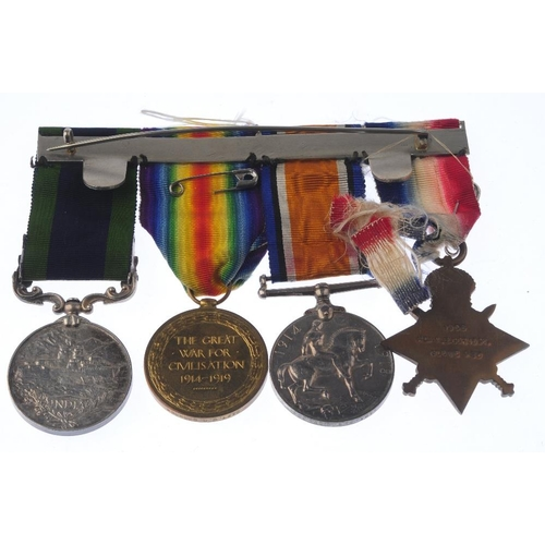 249 - Great War medal group comprising, India General Service Medal, Afghanistan NWF 1919 clasp, unnamed, ...