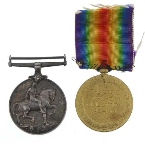 252 - Great War Pair, British War Medal 1914-20, Victory Medal, named to '130422 Pte. J. Hobson. R.A.M.C.'...