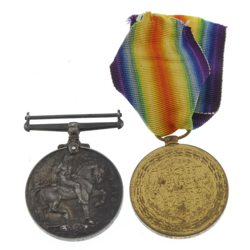 255 - Great War Pair, British War Medal 1914-20, Victory Medal, named to '119385 Pte. R.L. Ferguson. R.A.M...