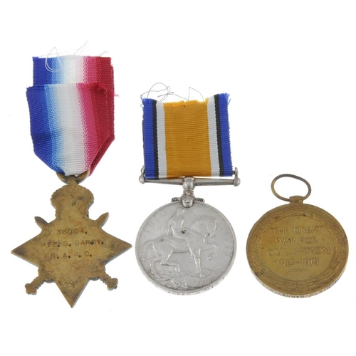 258 - Great War Trio, 1914-15 Star, British War Medal 1914-20, Victory Medal, named to '36004. Pte. G. Bar...