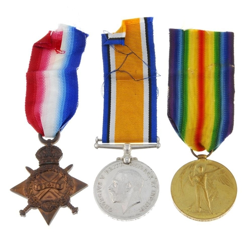 262 - Great War Trio, 1914-15 Star, British War Medal 1914-20, Victory Medal, named to '36382. Pte. A. C. ...