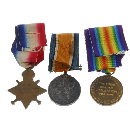 263 - Great War Trio, 1914-15 Star, British War Medal 1914-20, Victory Medal, named to '62641 Pte. H. M. T...