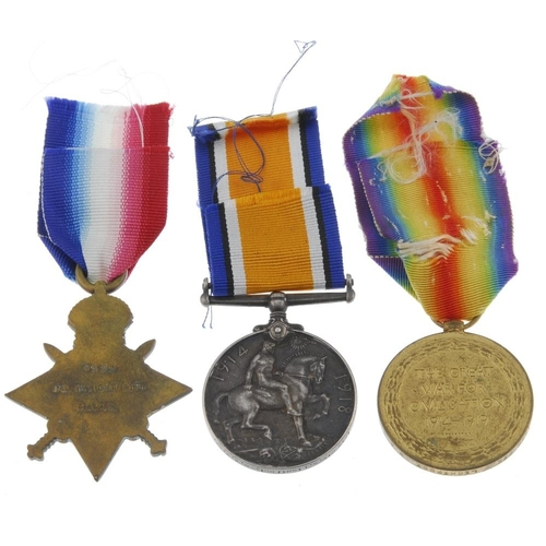 267 - Great War Trio, 1914-15 Star, British War Medal 1914-20, Victory Medal, named to '1539 Pte. W. Light...