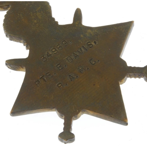 268 - Great War Trio, 1914-15 Star, British War Medal 1914-20, Victory Medal, named to '34969 Pte. E. Davi...