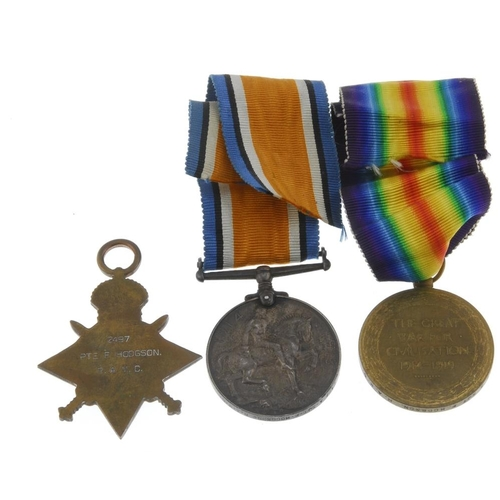 270 - Great War Trio, 1914-15 Star, British War Medal 1914-20, Victory Medal, named to '2497 A. Sjt. F. Ho...