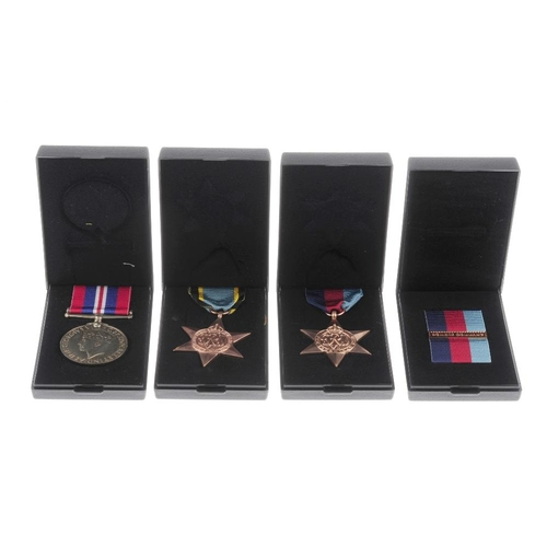 277 - WWII Trio, re-issue, 1939-45 Star, Bomber Command bar, Air Crew Europe Star, War Medal 1939-45, toge...