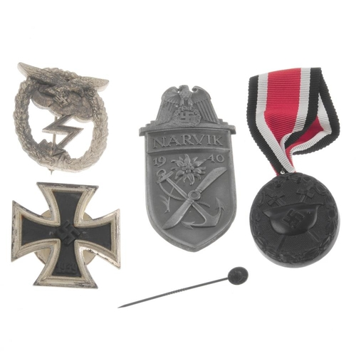 279 - WWII, German group of medals, Iron Cross 1939 marked L/57, Ground Assault badge, Narvik campaign shi...