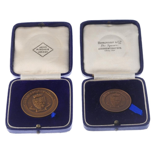 282 - Shrewsbury School, bronze Athletics prize medals (21), various diameters, in cases of issue from Pin...