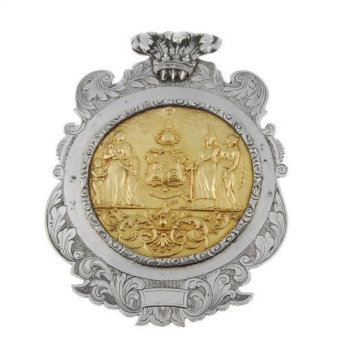 284 - Masonic, William IV silver presentation plaque, the circular embossed panel with foliate surround, s...