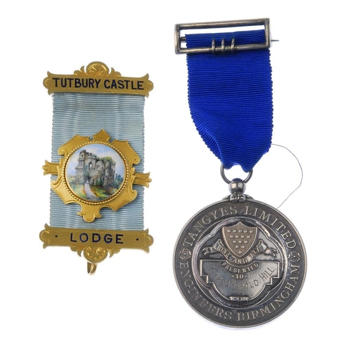 287 - Masonic, Tutbury Castle Lodge, medal ribbon with 9ct gold bars including enamel depiction of Tutbury...