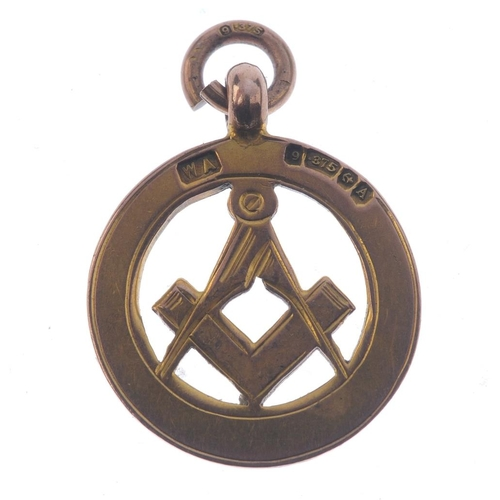 288 - Masonic, openwork engraved gold pendant, setsquare within circle, 9ct, hallmarked 1925, 4.1g, 21mm, ...