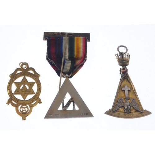 290 - Masonic, three silver-gilt jewels, star in garter, eagle on setsquare, N over triangle, with Masonic...