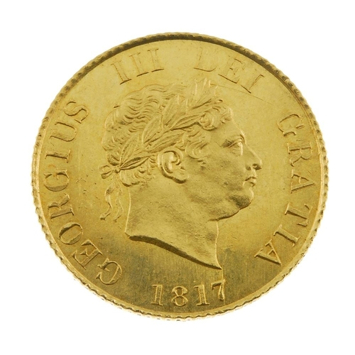3 - George III, Half-Sovereign 1817 (S 3786). Good extremely fine, hairline above bust.  <br>Good extrem...