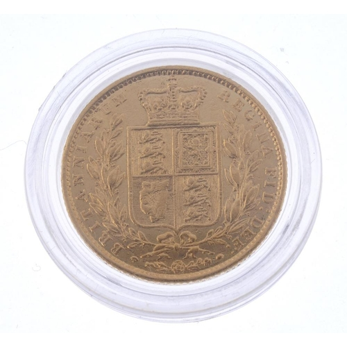 36 - Victoria, Sovereign 1851, rev. shield (S 3852C). Very fine, ex loose mount.  <br>Very fine, ex loose...