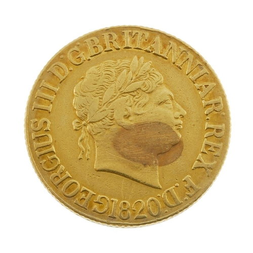 4 - George III, Sovereign 1820. Fine, localised scratches to obverse. <br>Fine, noticeable localised scr...
