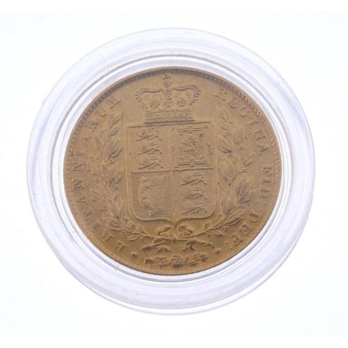 40 - Victoria, Sovereign 1845, rev. shield (S 3852). Good fine.  <br>Good fine.  <br>...