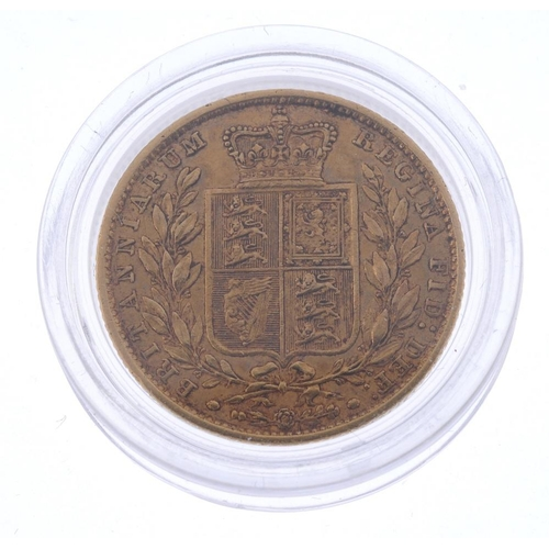 43 - Victoria, Sovereign 1849, rev. shield (S 3852C). Good fine.  <br>Good fine.  <br>...