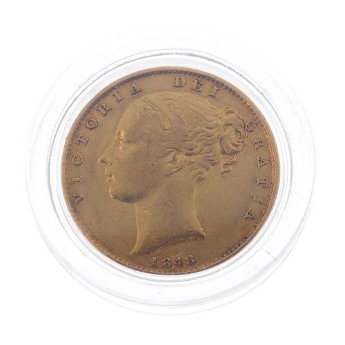 44 - Victoria, Sovereign 1848, rev. shield (S 3852C). Very fine.  <br>Very fine.  <br>...