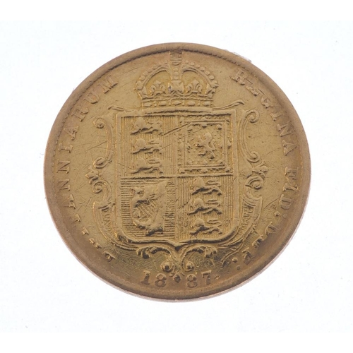 46 - Victoria, Half-Sovereign 1887, rev. shield (S 3869). Fine, ex mount. <br>Fine, ex mount. <br>...