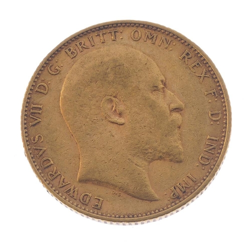 48 - Edward VII, Sovereign 1905. Good fine.  <br>Good fine.  <br>...